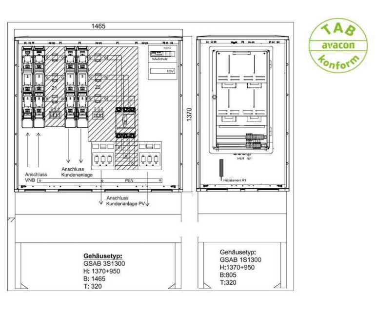 GSAB Mess-/Wandlerschrank für Erzeugungsanlagen bis 350 kVA (Überschusseinspeisung)