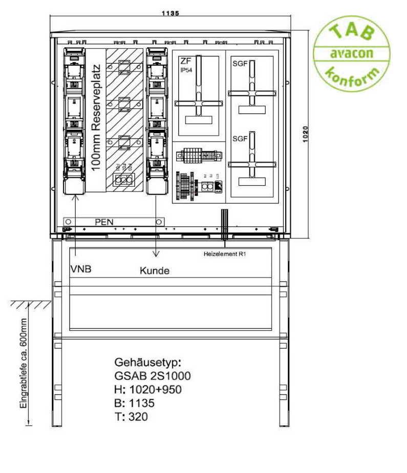 GSAB Mess-/Wandlerschrank Bezug 250 A